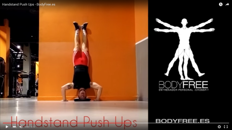 Flexiones de pino (hand stand push up)